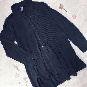 Charcoal Pleated Shirt Dress